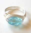 Aqua Glass Wire-Wrapped Ring