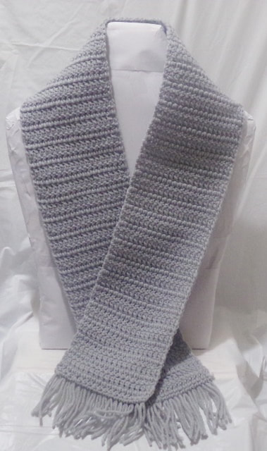 Gray Crocheted Scarf